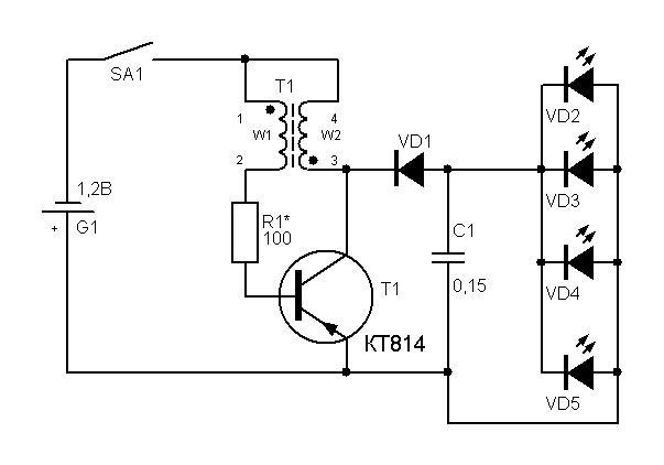 Количество витков w1=w2=24.  Резистор...  Схема фонарика приведена на рисунке.  Детали.